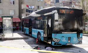 Halk otobüsüne molotof attılar