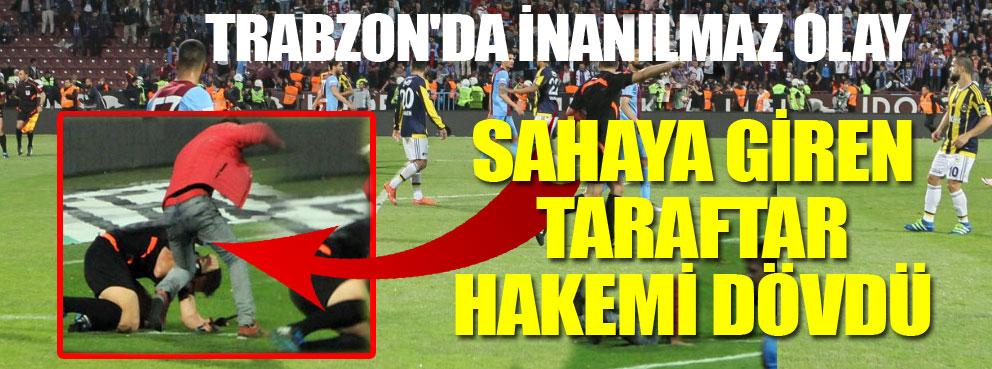 Trabzonda olaylar çıktı..Sahaya giren taraftar  hakemi dövdü..
